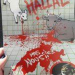 Résistance Helvétique en action ce matin à Clarens, afin de dénoncer l'abattage halal pratiqué dans un abattoir de la ville.