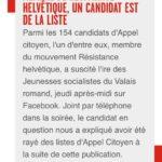 Valais : un membre RH exclu de la liste électorale d'Appel Citoyen suite à la pression des Jeunes Socalistes.