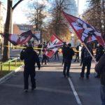 Résistance Helvétique à la manifestation contre le «Pacte sur les migrations» à Bâle.