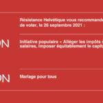 Consignes de vote de Résistance Helvétique pour le 26 septembre 2021.